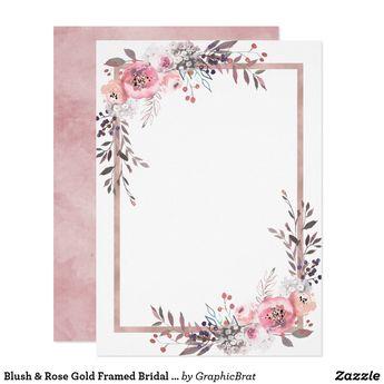 Blush & Rose Gold Framed Bridal Shower Invitation | Zazzle.com