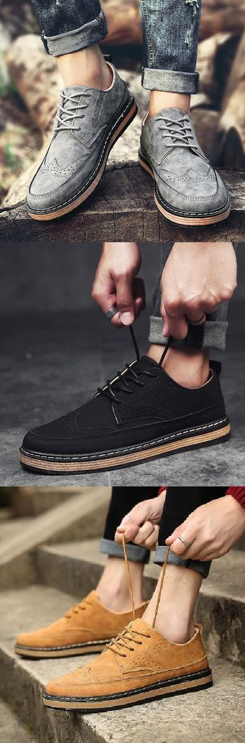 $25.99 USD Men's Vintage Classic Moc Toe Color Blocking Lace Up Casual Oxfords