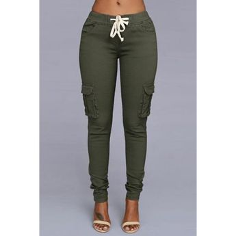 Casual Style Mid Waist Solid Color Slimming Pocket Decorated Pants For Women