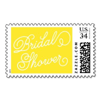 yellow elegant script bridal shower postage