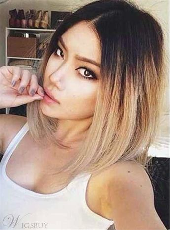 Dark Root Medium Straight Ombre Synthetic Hair Lace Front Cap Wigs 14 Inches