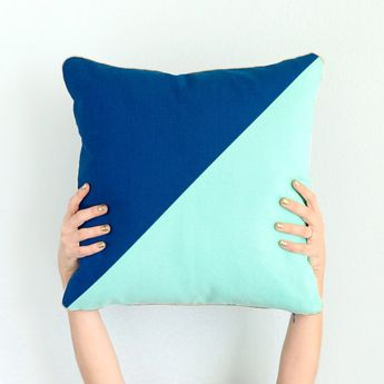 Navy and Mint Color Blocked Throw Pillow