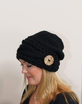 d46d3d9b3aa Slouchy Beanie Slouchy Hat Women Cable Beanie Winter Hat Chunky Beanie  CHOOSE COLOR Black Beanie Women