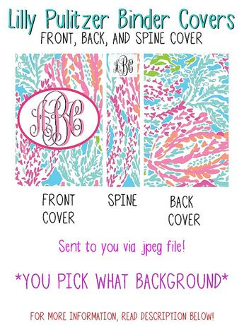 Personalized Lilly Pulitzer Binder Cover Front And Back Spine Insert 550