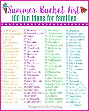 Summer Bucket List - 100 Fun Ideas for Families