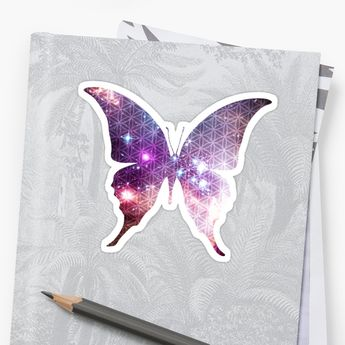 'The Sacred Nebula Butterfly, Sacred Geometry Space Art' Sticker by ChaosEmporium