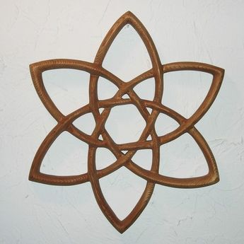 Double Trinity Knot - Wood Carved Celtic Knot -Basic Triquetra MEANING: This symbol is a combination of two simple trinity knots, the most basic Triquetra. The Trinity is simply three arcs; to the early Celtics, representing the three aspects of the Celtic Goddess; Maiden, Mother, Crone. As Christianity spread, the three arcs were adapted to the Christian Trinity. $108.00    The Double Trinity represents the finding of balance between the matriarchal and patriarchal trinities, female/male, etc.