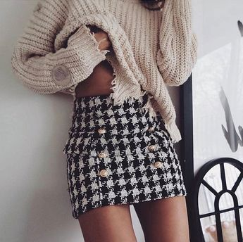 New black white plaid sexy mini pencil skirt high waist women houndstooth winter