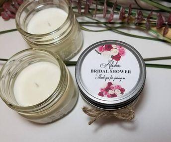 12 4oz personalized bridal shower candles bridal shower favors wedding candles custom