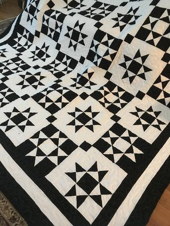 Quilt Black and White Ohio Star Reverse Color Blocks Made To Order
