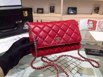 e606ae3c5d00d2 Chanel Classic Lambskin Wallet On Chain WOC Red Bag