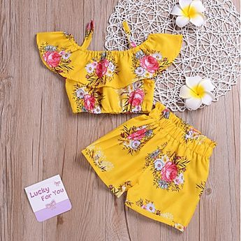 Kids Girls' Boho Daily Sun Flower Floral Print Sleeveless Short Short Spandex Clothing Set Yellow