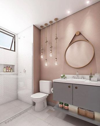 Apaixonado no detalhe das luzes com cordas e na paleta de cores desse banheiro. Gostaram? Projeto: @arquitetaalinezanoni #ideiasdiferentes  Confira também o perfil @eduardomuzzi.interiores | #grupojsmais
