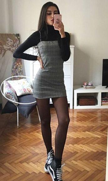 Strap plaid dress