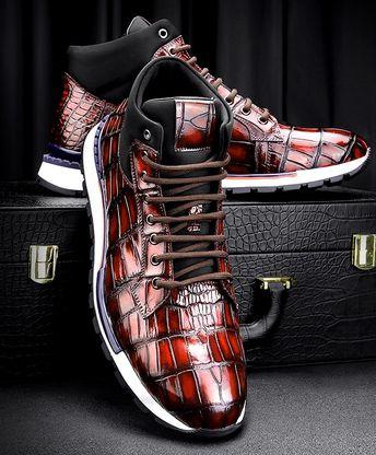 Handcrafted Men's Premium Alligator Skin Running Shoes