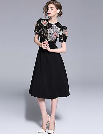 Women's Holiday / Going out Street chic / Sophisticated A Line / Little Black Dress - Floral Embroidered High Waist Summer Black L XL XXL