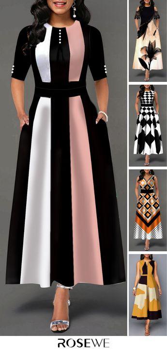 Color Block Button Detail High Waist Maxi Dress. GET EXTRA $27 OFF. Free shipping & 30 days easy return at Rosewe.com.#maxidress#womensfashion#highwaist