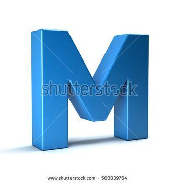 M Letter Icon. 3D Render Illustration
