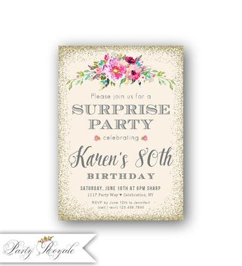 Surprise 80th Birthday Invitations For Women Watercolor Florals Faux Gold Glitter Printed Invites Or