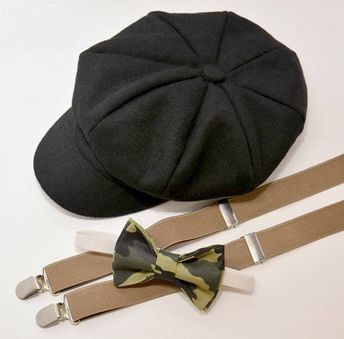 0960d324fa4 Bow Tie Suspenders Newsboy Taupe Brown Cap Hat   Camo Bow Tie   Taupe  Suspenders