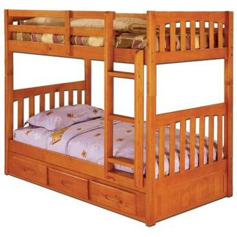 American Furniture Classics Honey Twin over Twin Solid Pine Bunkbed with Three Drawer Underbed Storage