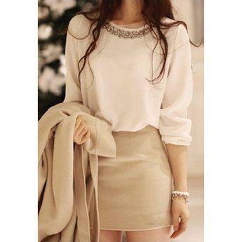 Refreshing Scoop Neck Rhinestone Embellished Long Sleeves Slimming White Dacron Women's Blouse