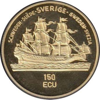 Moneda de oro 150 Ecu Suecia 1992 Gustavo Adolfo. Barco.