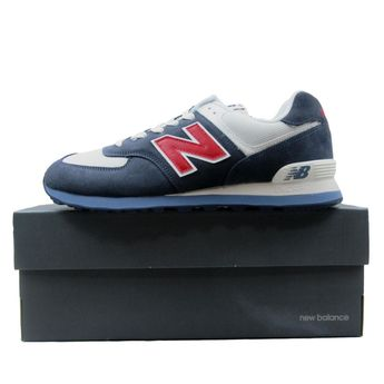 quality design 319db 51e16 Details about New Balance 574 Classics Sneakers Mens Navy Blue White Red  ML574ESC Multi Size
