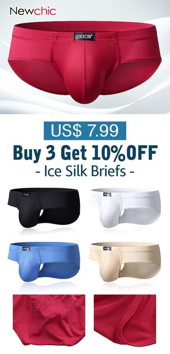 Mens Breathable Ice Silk Sexy Perspective U Pouch Underwear Solid Color Boxer Briefs #mens #underwear