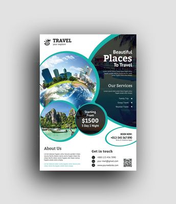 Poseidon Travel Agency Flyer Design Template - Graphic Templates