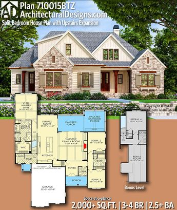 Architectural Designs Home Plan 710015BTZ gives you 3-4 bedrooms, 2.5+ baths and 2,000+ sq. ft. Ready when you are! Where do YOU want to build? #710015BTZ #adhouseplans #architecturaldesigns #houseplans #architecture #newhome ##newconstruction #newhouse #homeplans #architecture #home #homesweethome