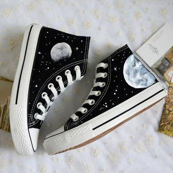Harajuku cosmic moon painted shoes