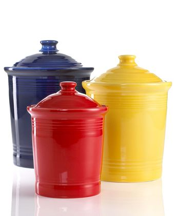 Enhance your decor with these sunny canisters from Fiesta! Glazed with a cheerful hue, these canisters are sure to brighten your home. | Fully vitrified china with lead-free glaze | Dishwasher, microwave and oven safe | Made in USA | Fully vitrified ceramic with lead and cadmium-free glaze | Dishwasher, microwave, and oven safe | Made in the USA since 1936 | 5-year chip warranty | Customer Favorite | Web ID:2509134