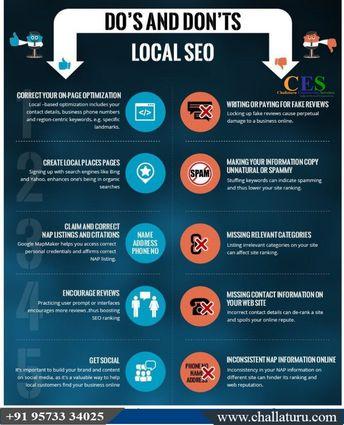 """Do's and Don'ts local SEO""#InboundMarketing #SearchEngineOptimization #SMM #ContentMarketing #Blog #EmailMarketing #SMO #CES #challaturu Visit: challaturu.com"