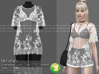 98699a79945 Oversized Lace Tees (TOP Version) - The Sims 4 Download - SimsDomination