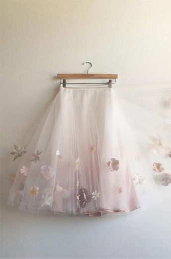 Cute White Tulle Tutu with Flowers