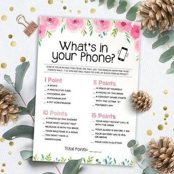whats in your phone bridal shower games bachelorette party games wedding quiz game