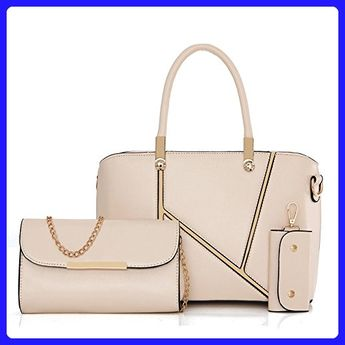 4cb84a301a Montmo Fashion Pu Leather Handbag Set Top-Handle Shoulder Bag 3pcs Bag Tote  (Beige