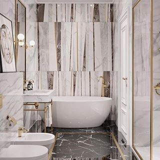 Beautiful marble combinations and a statement wall!!! Dont be afraid to try something you love in your space!!! . For more inspiration please follow @marmaron_ . . .