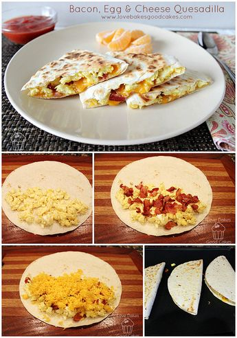 Bacon Egg & Cheese Quesadilla Collage by lovebakesgoodcakes, via Flickr
