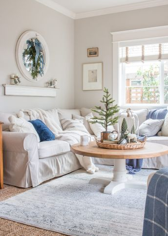 Cozy and Natural Christmas Living Room
