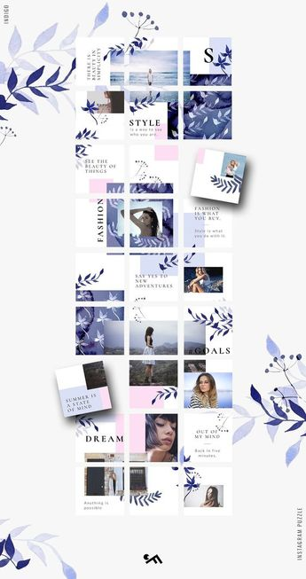 Instagram PUZZLE template - Indigo by CreativeFolks on @creativemarket #instagram #puzzle #template #instagrampuzzle #gridlayout #moodboard #collage #quotes #fashion #style