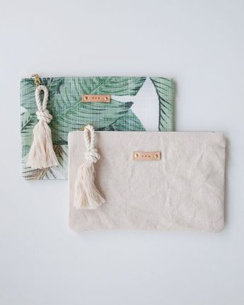 Palm Leaf Print Zipper Pouch Greenery Monogram Makeup Bag