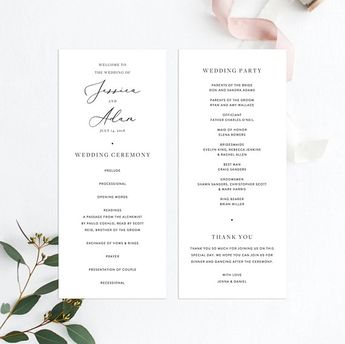 initialed customizable unique wedding programs in pink