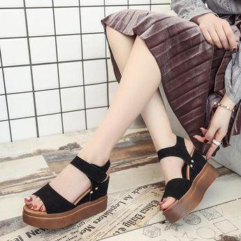 High Heel Platform Open Toe Wedge Sandals