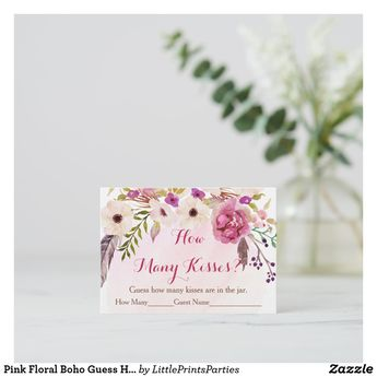 Pink Floral Boho Guess How Many Game Cards | Zazzle.com
