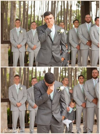 The sweetest reaction of the groom to seeing his bride walk down the aisle!!!  Taken at THE SPRINGS in The Woodlands Wedding: VJ & Summer | JW Baugh Photography