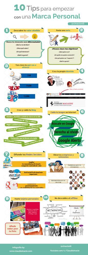 10 consejos para empezar con una Marca Personal #infografia #infographic #marcapersonal