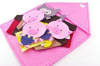 3 Pig Felt Board Story for Preschool and Kindergarten Teacher Circle Time | Educational Toy + Story Time Teacher Appreciation Gift
