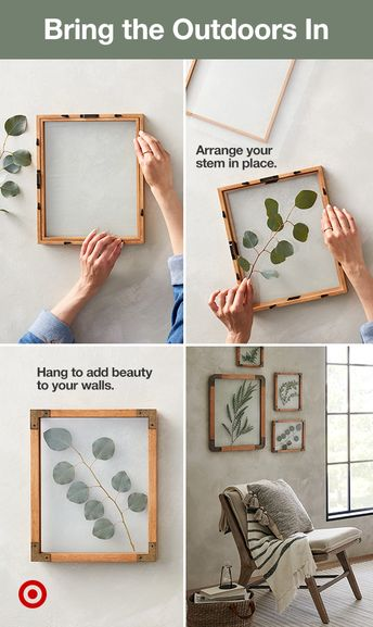 Find your favorite stems or flowers and arrange them in decorative wood frames for stand-out wall art. #HearthAndHand